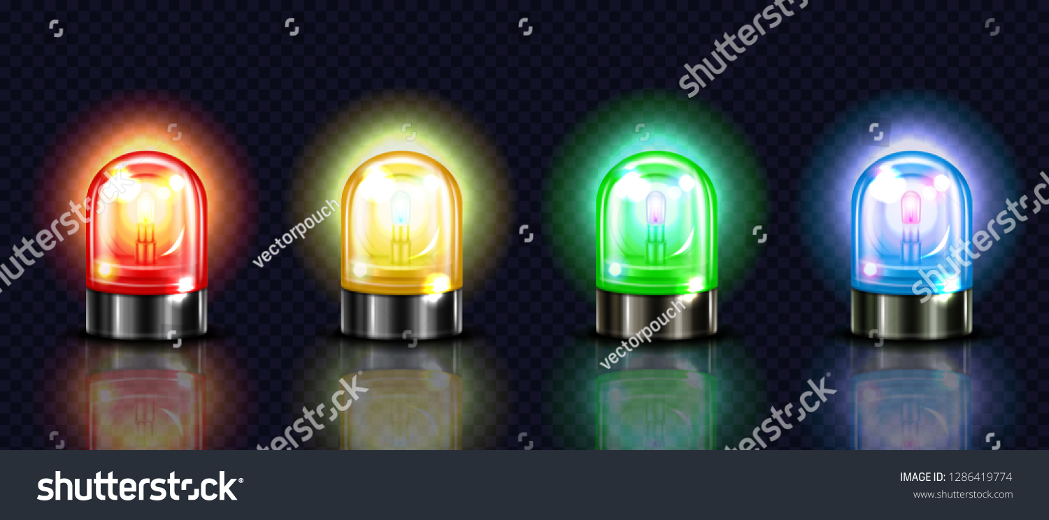 Siren Lights Illustration Red Yellow Green Stock Illustration 1286419774