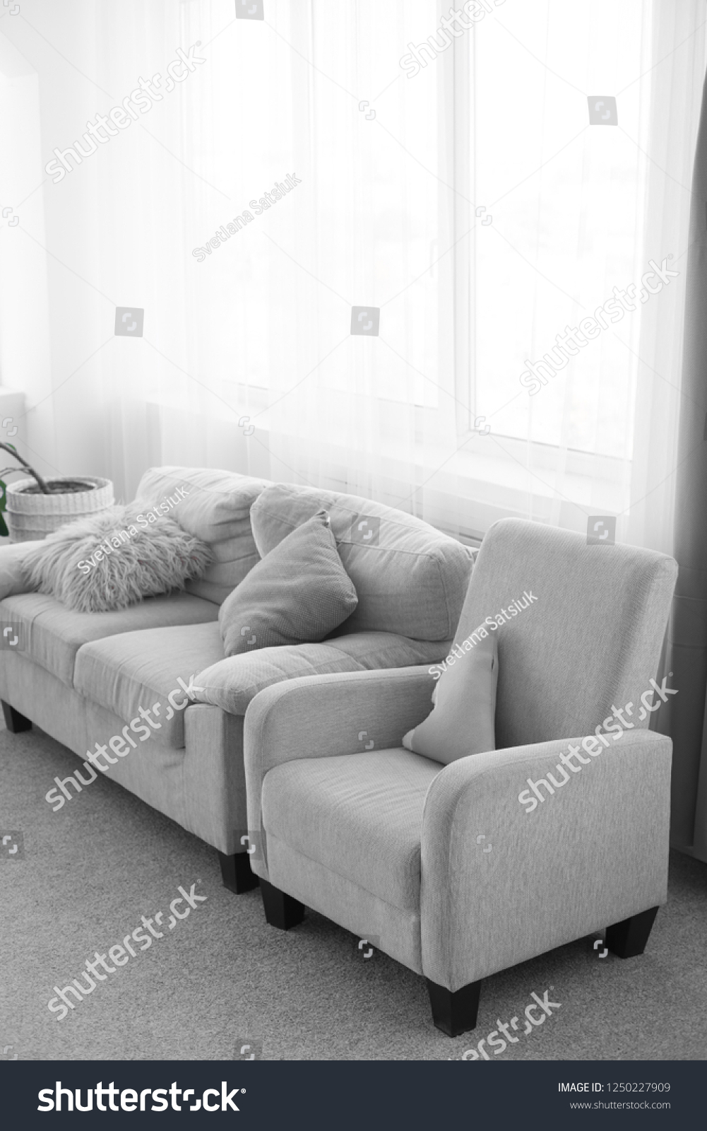Sofa Next Grey Sofa Pillows Couch Chair Gray Sofa Stock Photo Edit Now