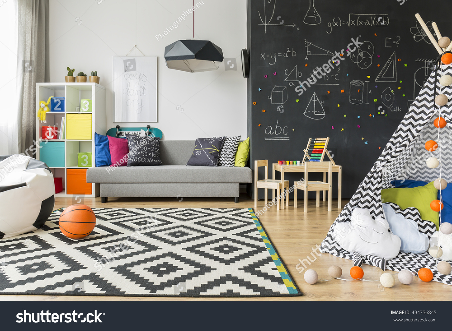 Abo Living At Home Spacious Black White Child Room Window Stock Photo Edit Now 494756845