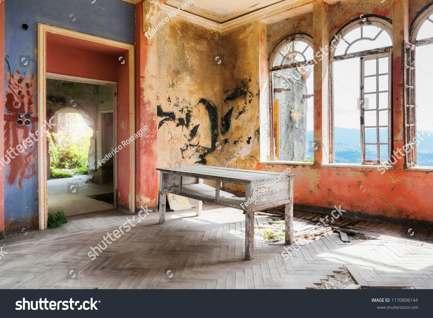 Bagno Design Redbrick Mill Spooky Interior Abandoned Ruined House Stock Photo Edit Now