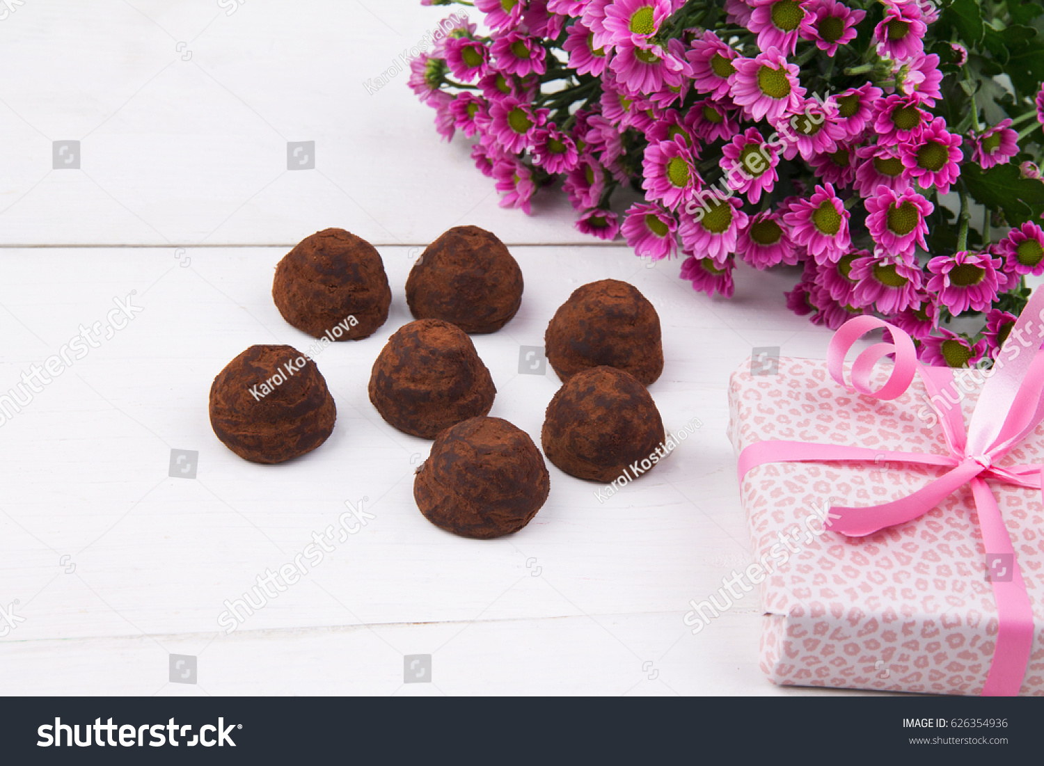 Bouquet Bonbons Spring Flower Bouquet Gift Box Chocolate Stock Photo Edit Now