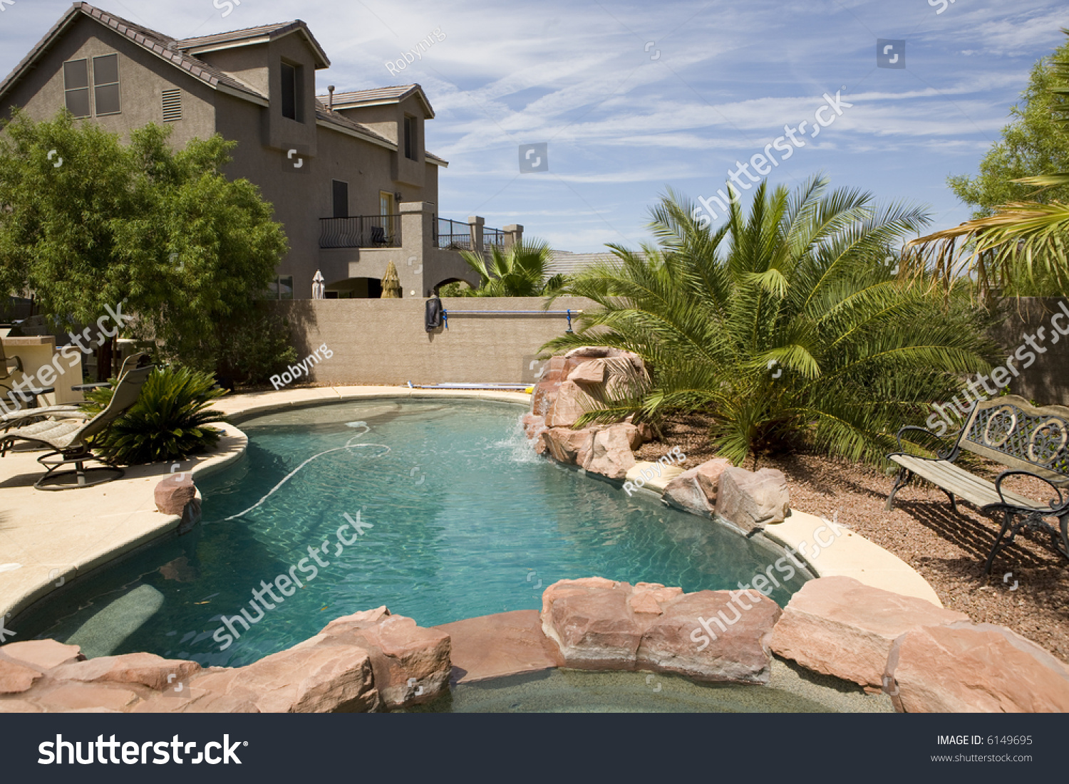 Pool And Jacuzzi Stone Pool Jacuzzi Backyard Stock Photo Edit Now 6149695