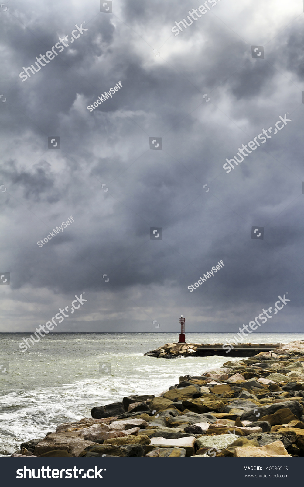 Lighthouse Background Storm Morning Wharf Lighthouse Background Stock Photo Edit Now