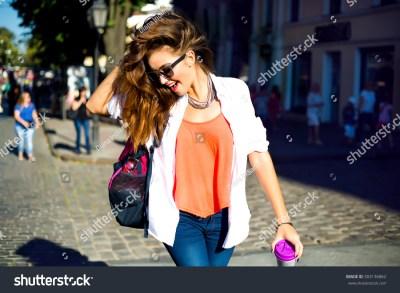 Summer Sunny Lifestyle Fashion Portrait Young Stock Photo ...