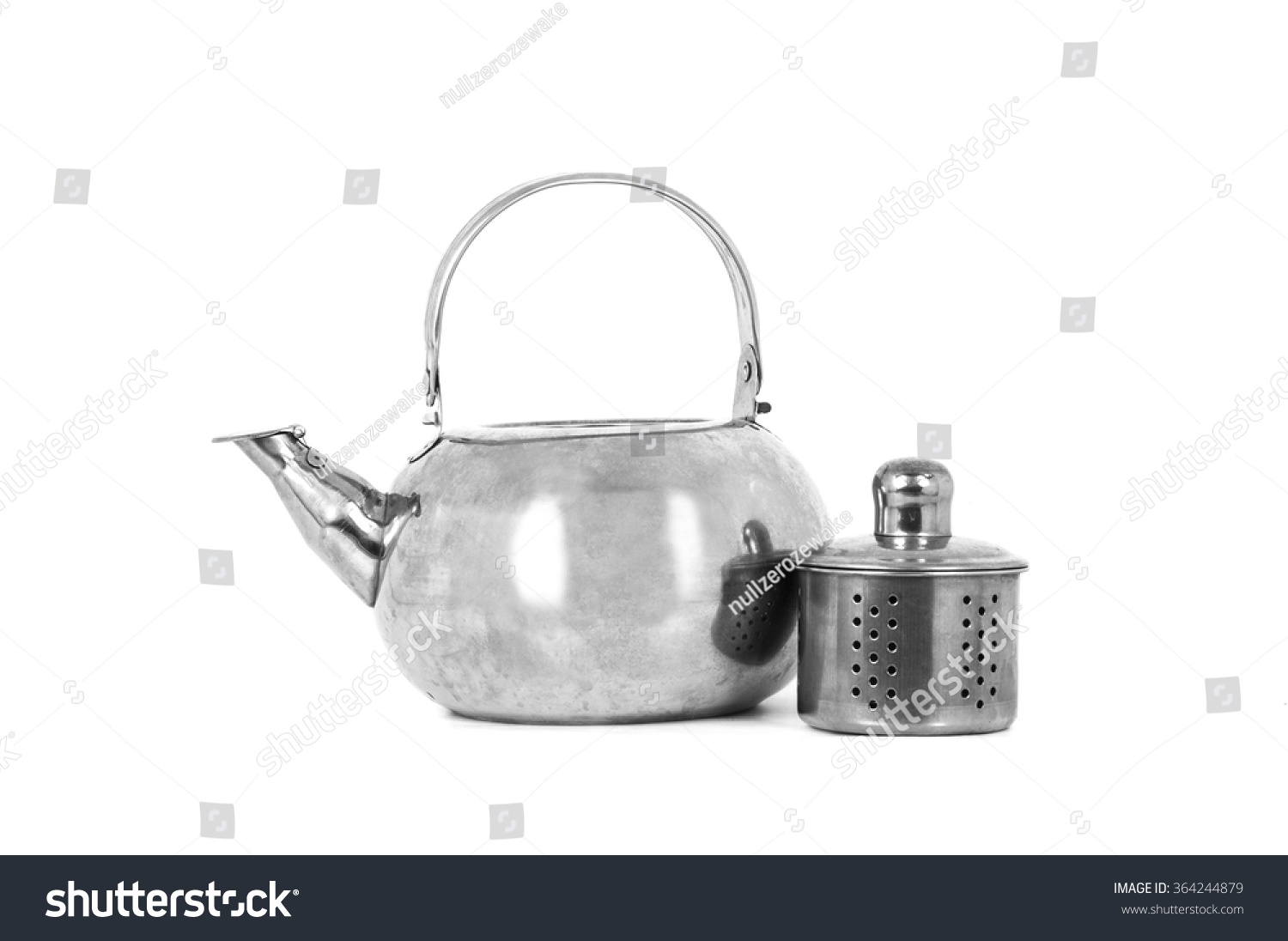 Tea Kettle With Strainer Tea Kettle With Tea Strainer Isolated On White Background
