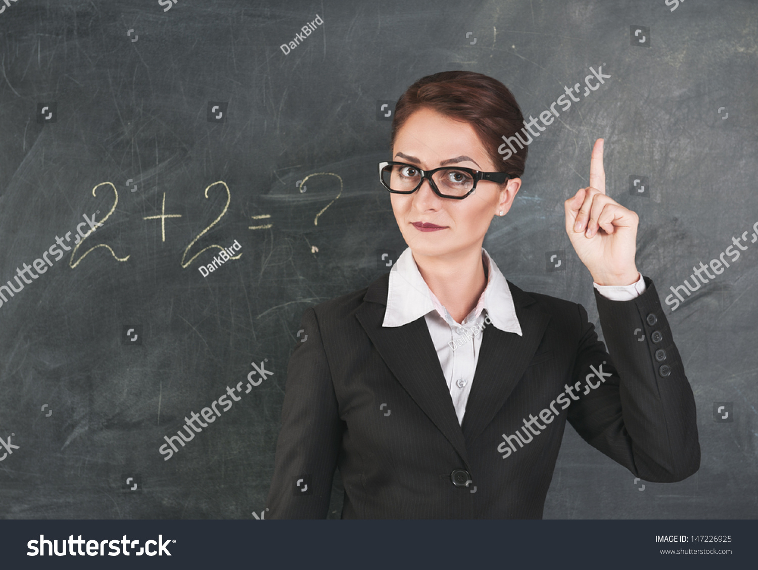 Teaching Maths Teacher Glasses Teaching Maths Showing Finger Stock Photo Edit
