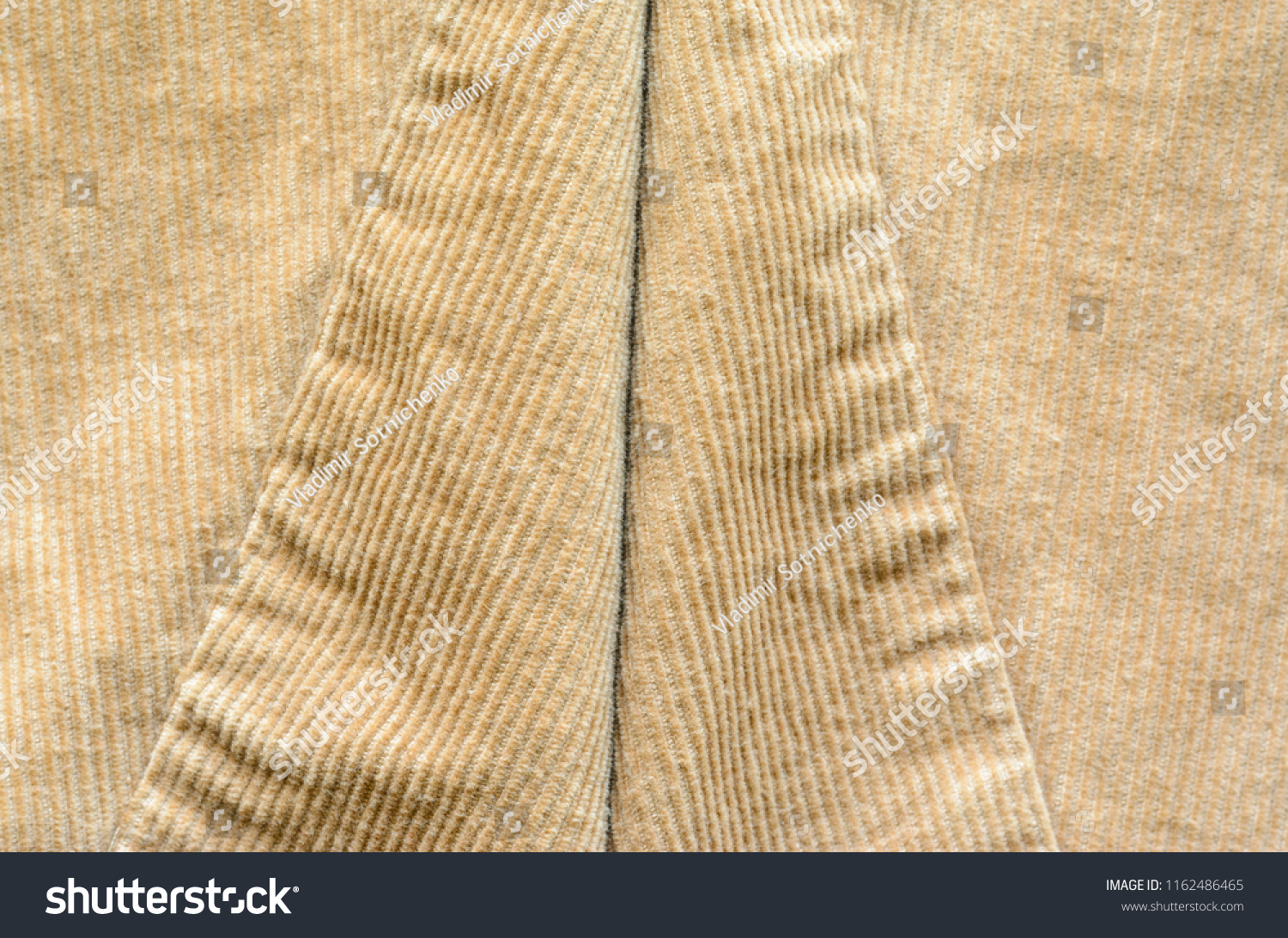 Texture Of Beige Velvet Clothes With Stitches Seams On Cloth Textile Fabric Of Corduroy As Background