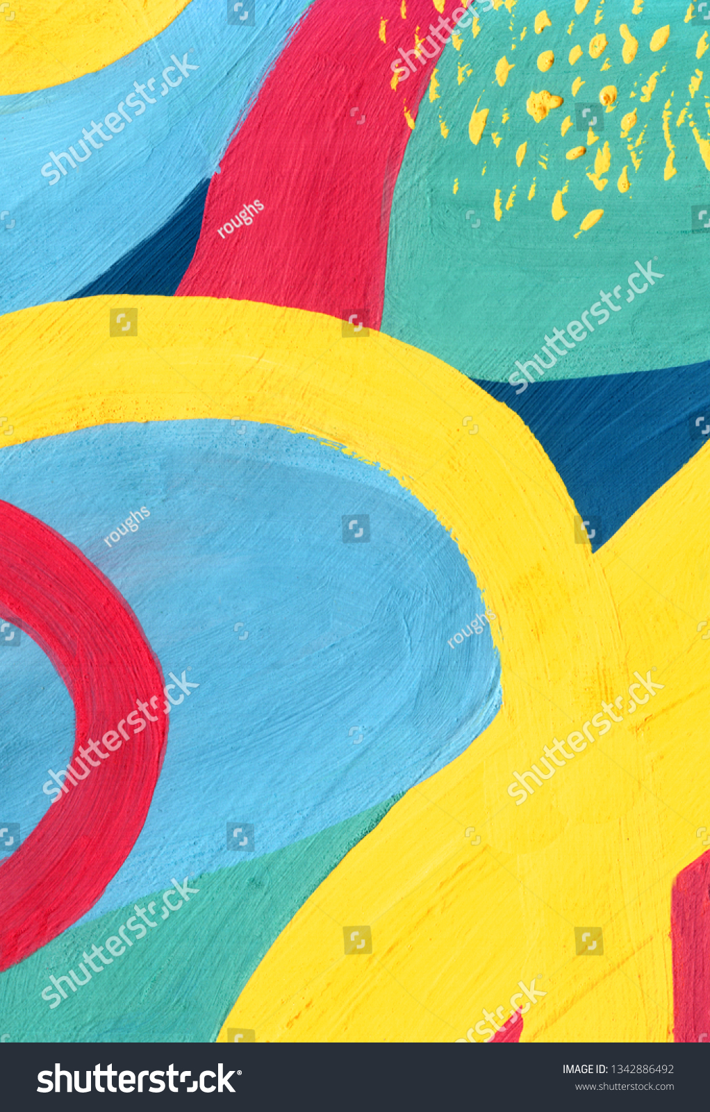 Bright Colours Painting Textured Abstract Art Painting Yellow Elements Stock Illustration