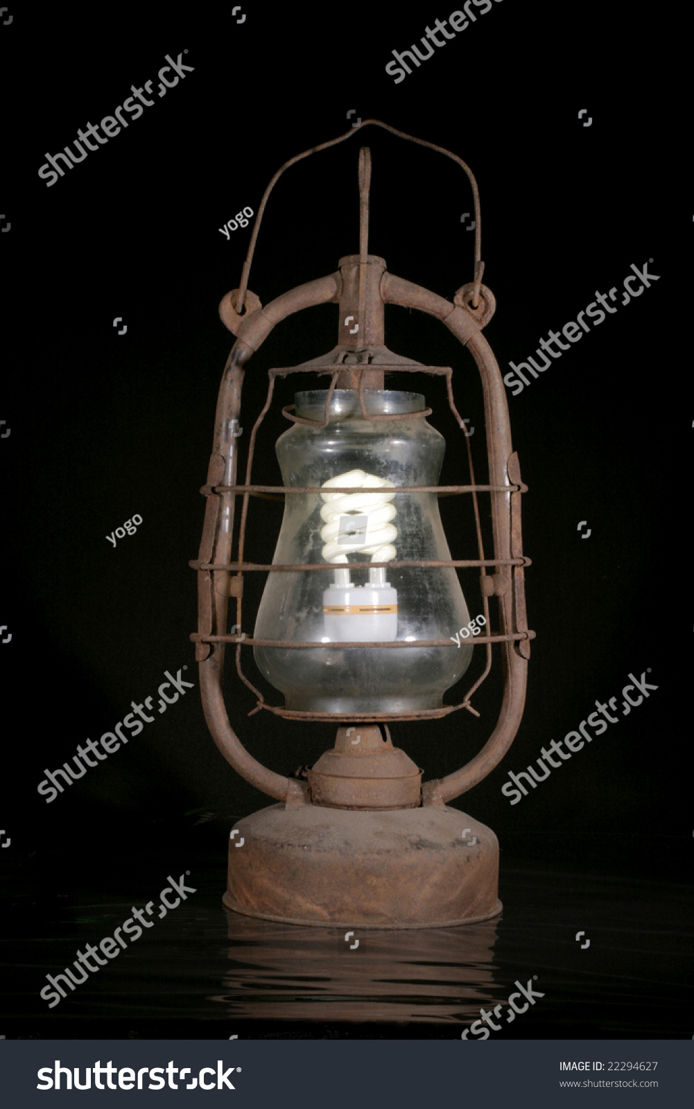 Modern Kerosene Lamp Old Dirty Kerosene Lamp Modern Electric Stock Photo Edit Now