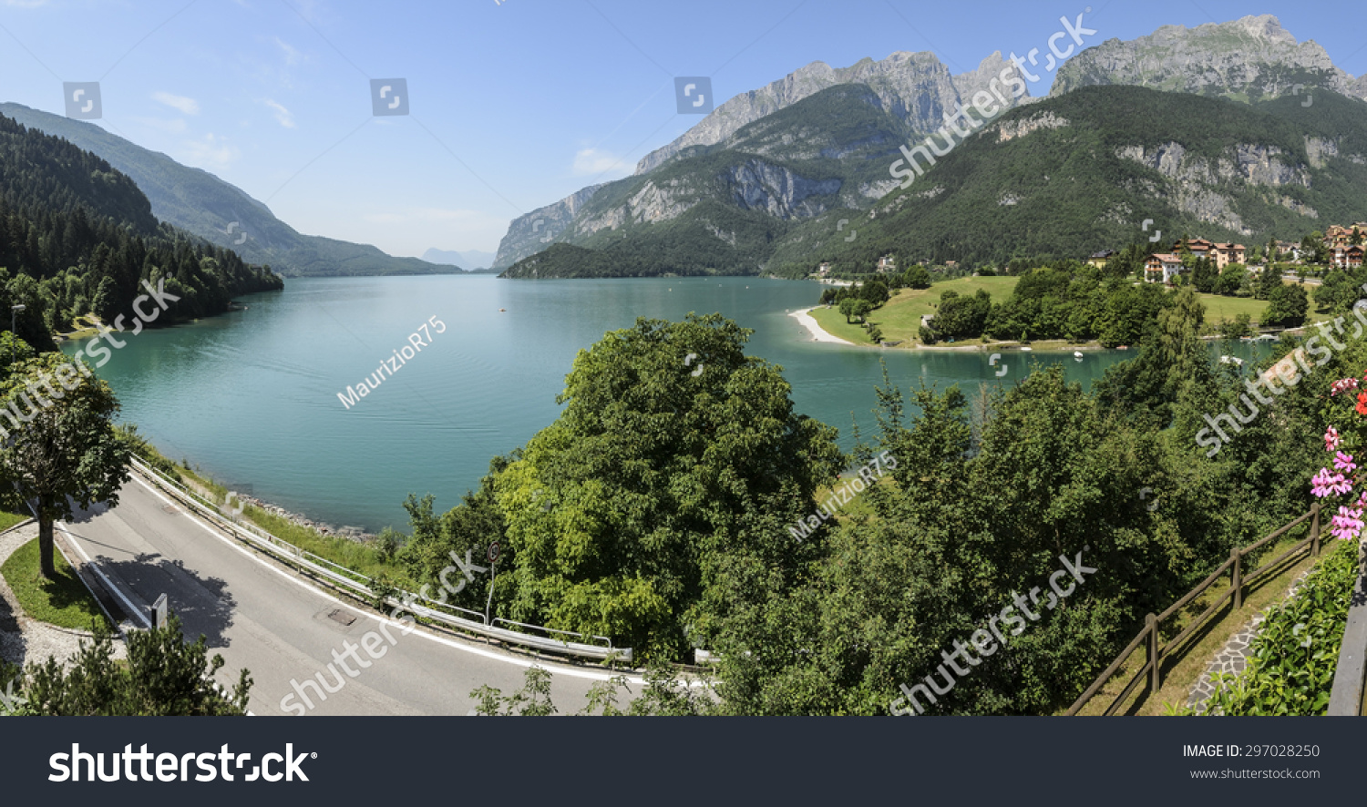 Molveno Camping Panorama Beautiful Lake Molveno Italian Alps Stock Photo Edit Now