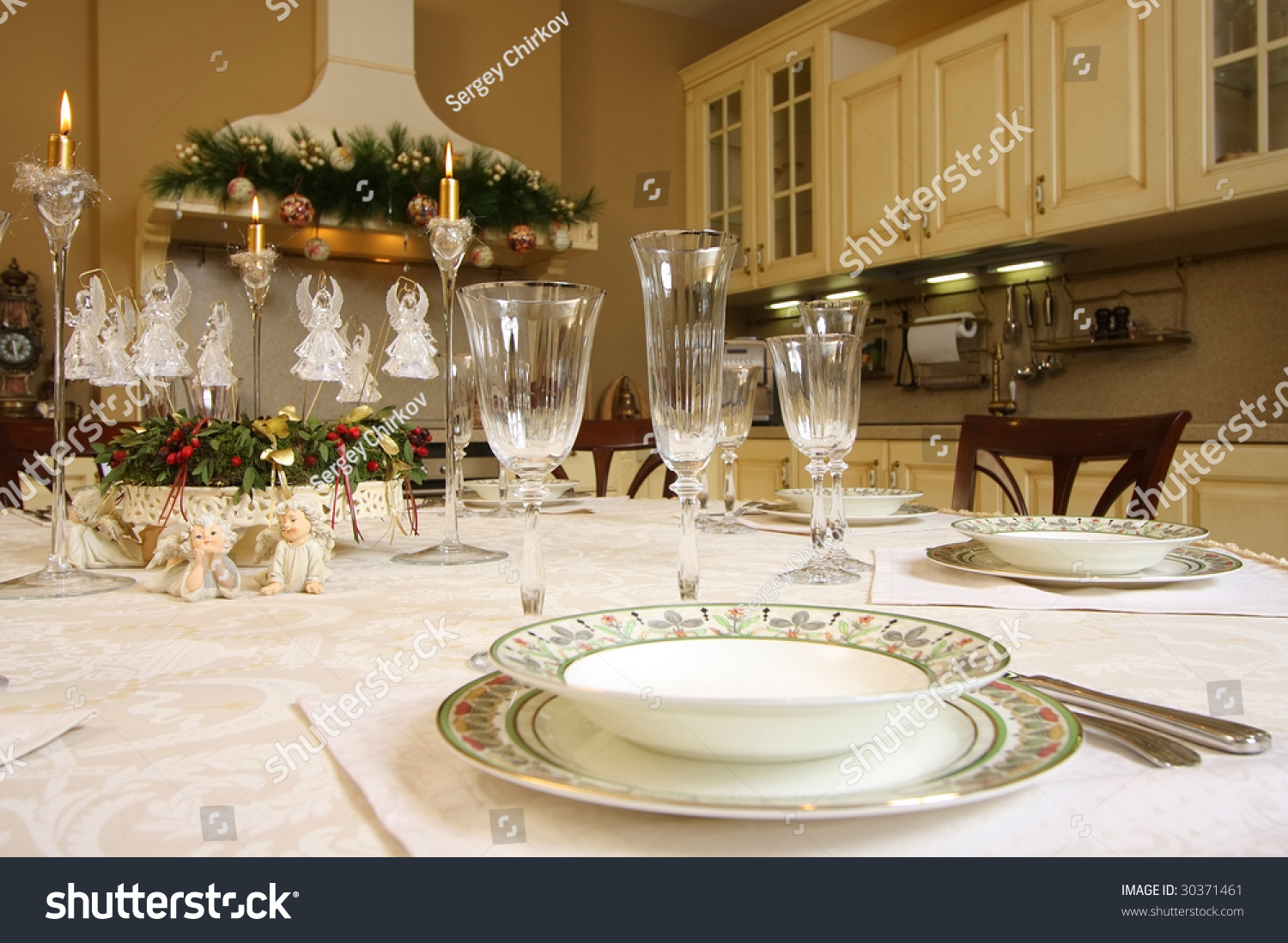 Christmas Tables Decorated The Table Decorated To Christmas Stock Photo 30371461