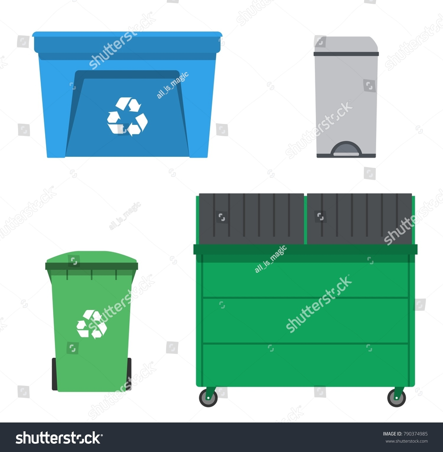 Cool Trash Bins Thrash Recycling Can Garbage Rubbish Trash Stock Illustration