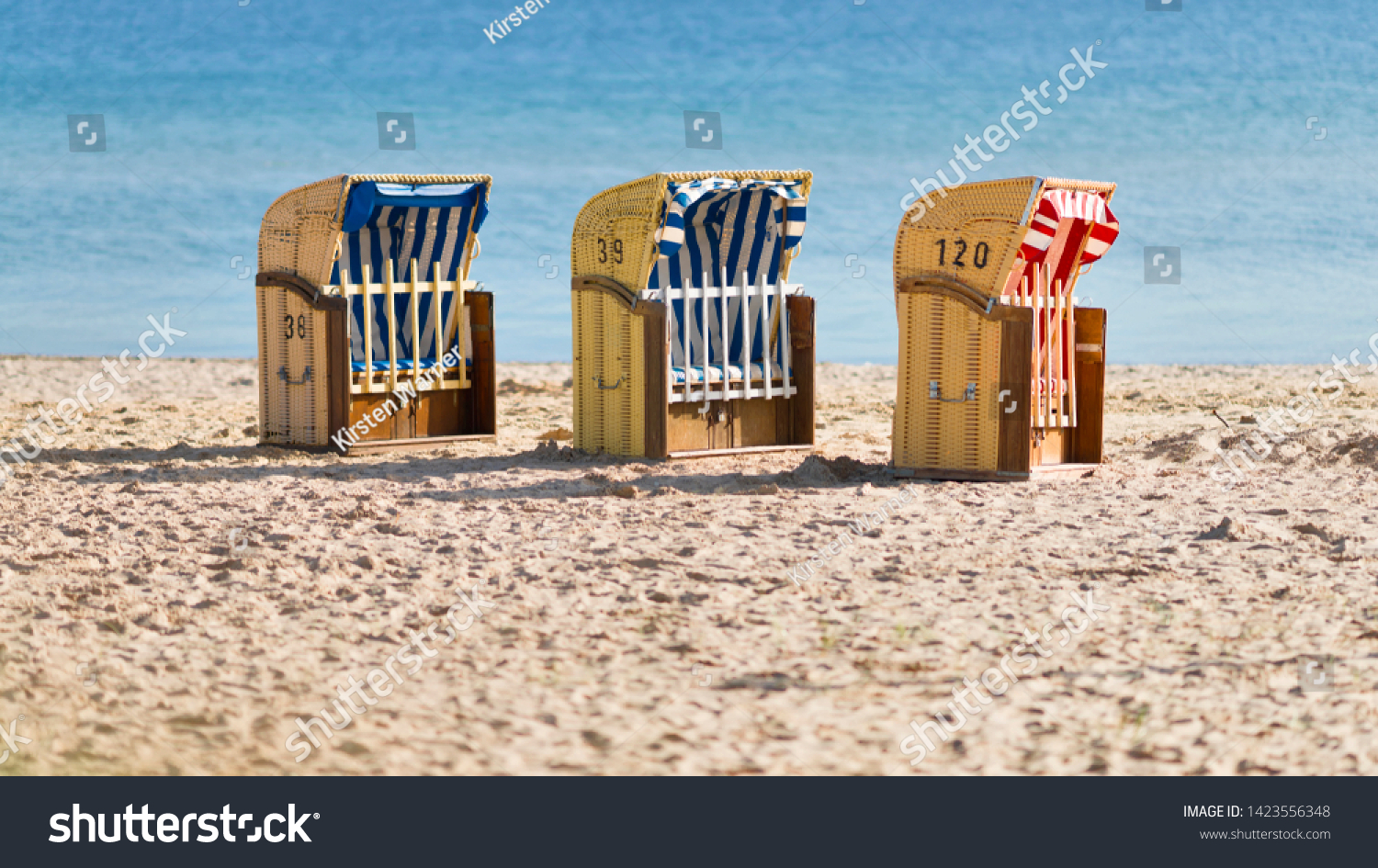 Three Empty Closed Beach Chairs On Stock Photo Edit Now 1423556348