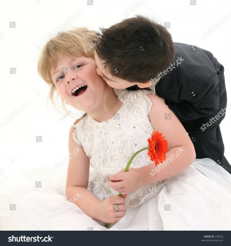 Young Siblings Kissing