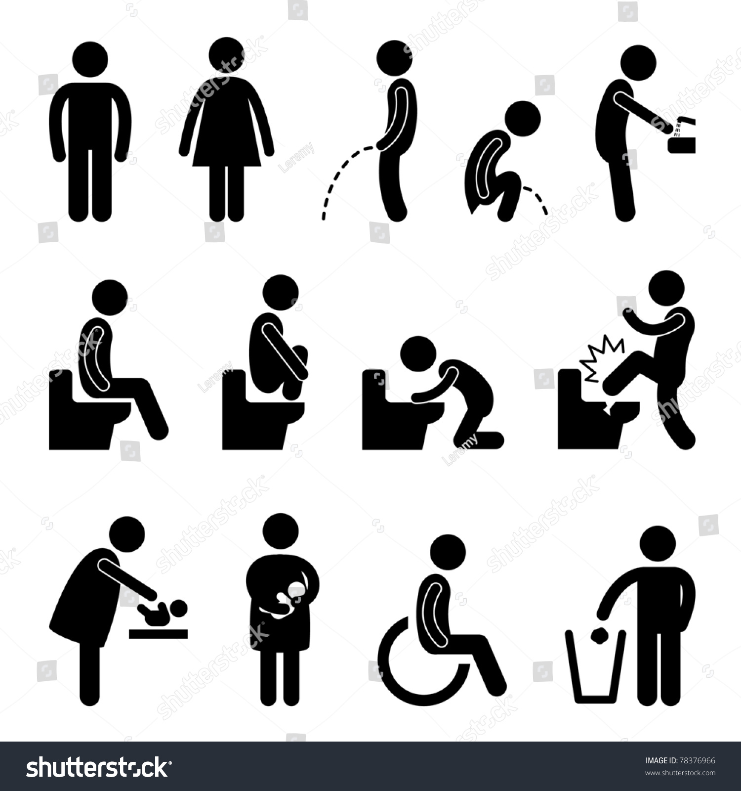 Muurstickers Action Toilet Bathroom Male Female Pregnant Handicap Public Sign