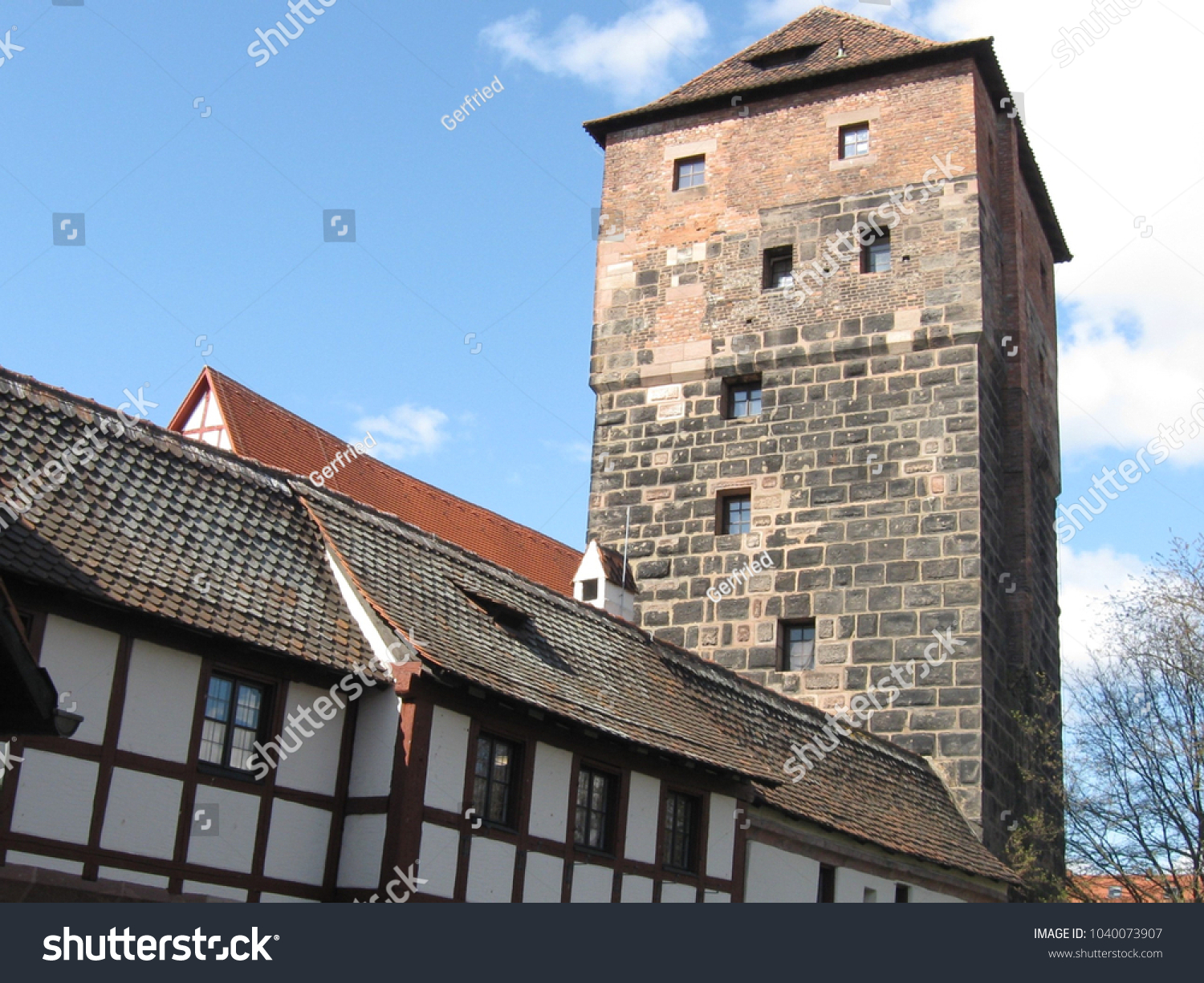 Sanders Nürnberg Tower Castle Nuremberg Germany Building Middle Stock Photo Edit