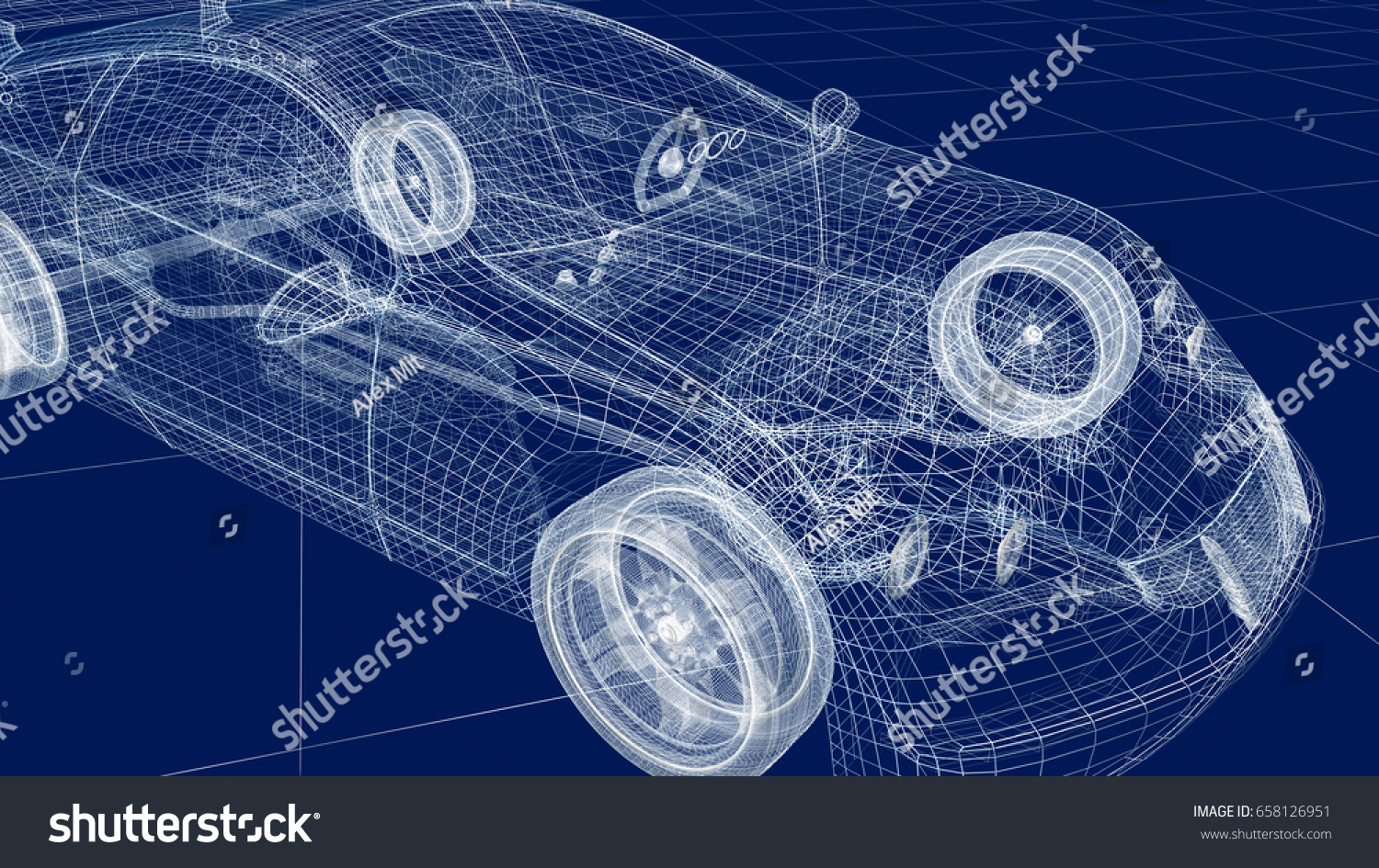 Jaguar Xj13 Blueprint Transparent Car Design Wire Model 3 D Illustration Stock