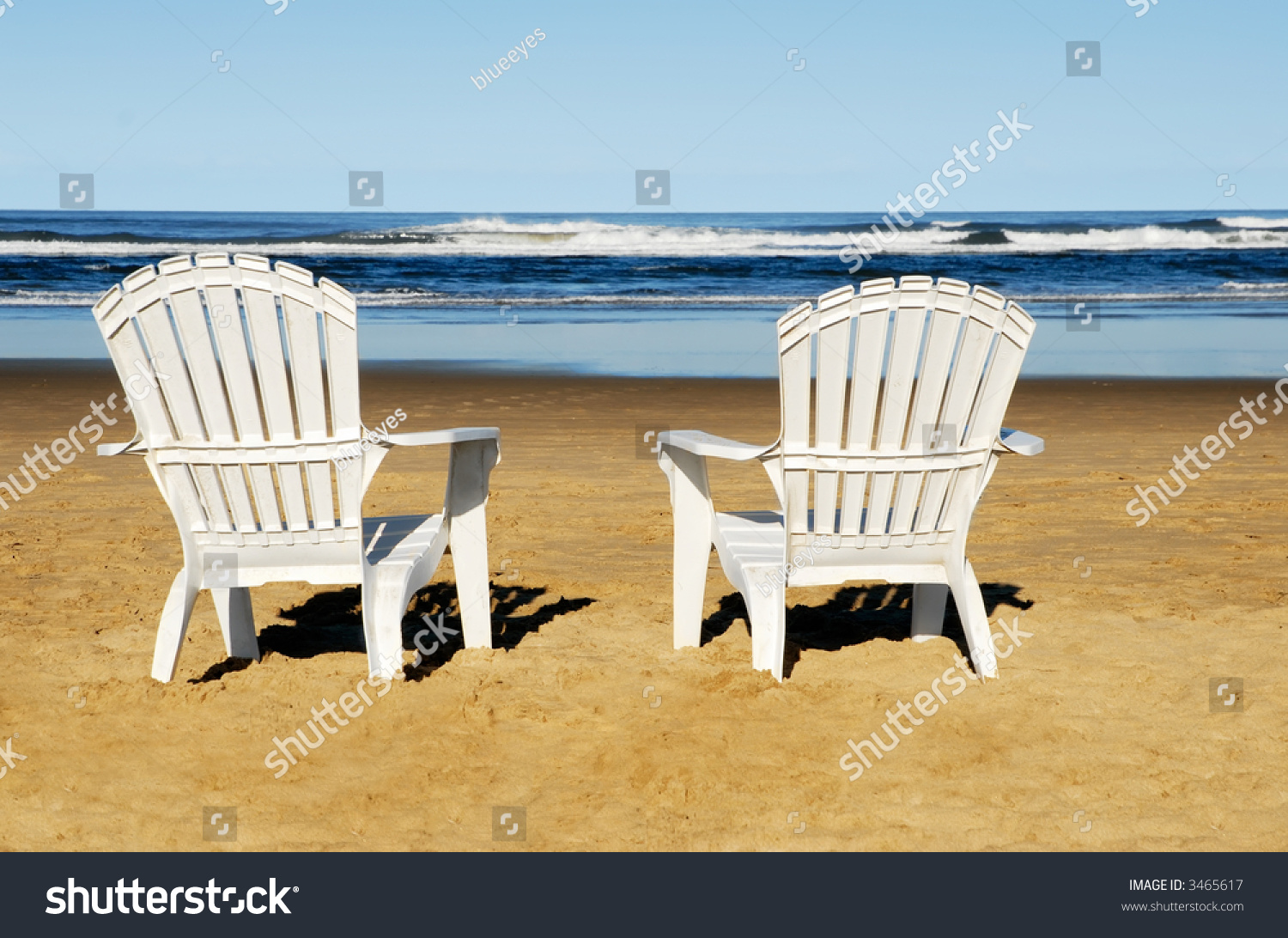 Two White Chairs On The Beach Stock Photo 3465617