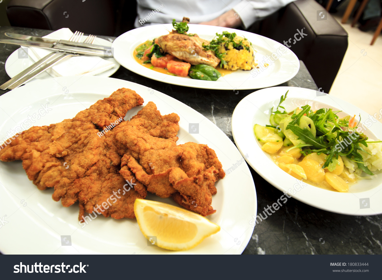 Schnitzel Restaurant Viennese Schnitzel Potato Salad Vienna Restaurant Stock Photo