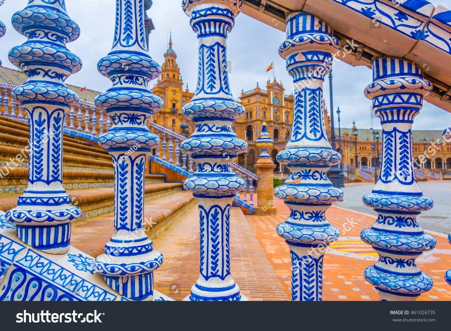 Azulejos Sevilla View Beautiful Railing Made Azulejos Tiles Stock Photo Edit Now
