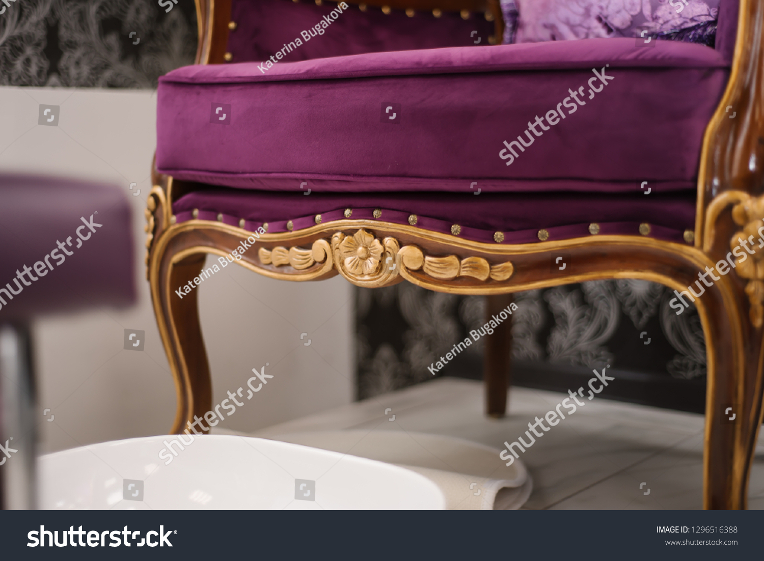 Vintage Salon Interior Decoration Interiors Stock Image 1296516388