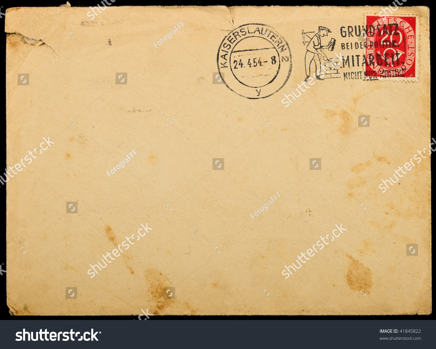 Enveloppe Vintage Vintage Used Envelope With Postage Stamps Stock Photo