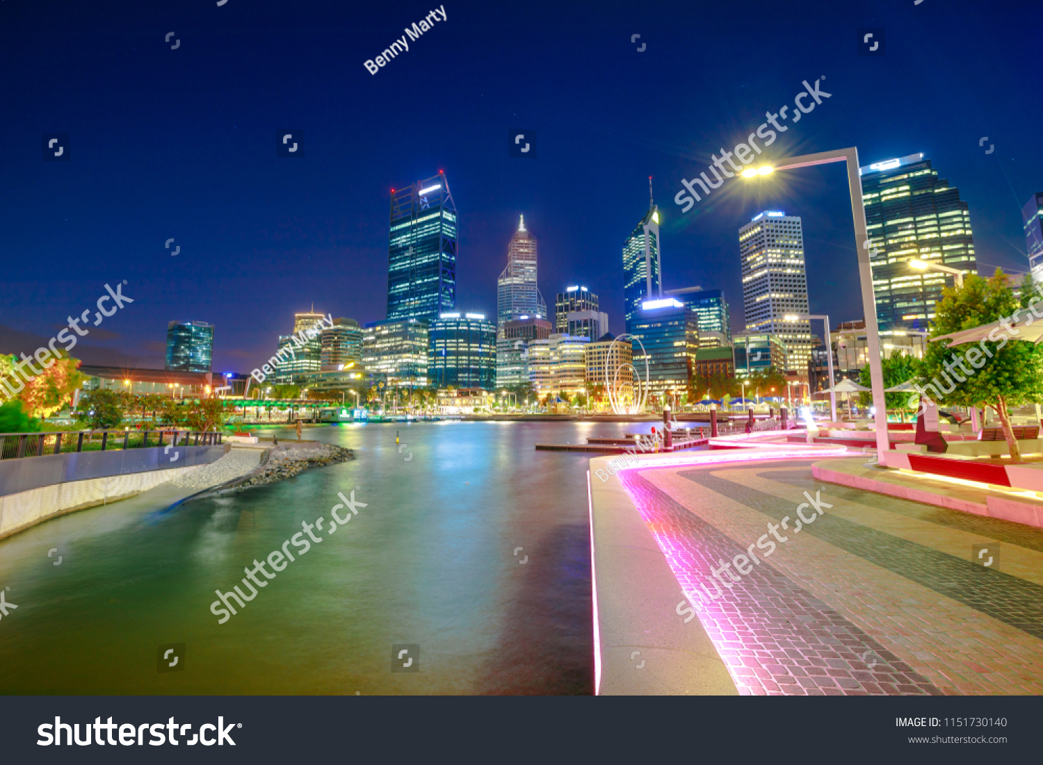 Lighting Stores Perth Wa Walkway Night Lighting Elizabeth Quay Marina Stock Photo Edit Now