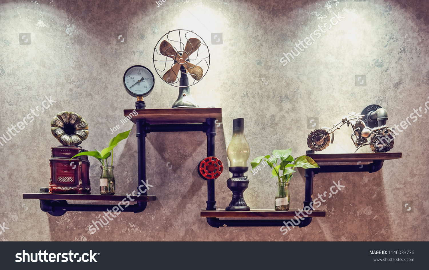 Diy Kerosene Lamp Wall Decoration Using Diy Shelf Vintage Stock Photo Edit Now