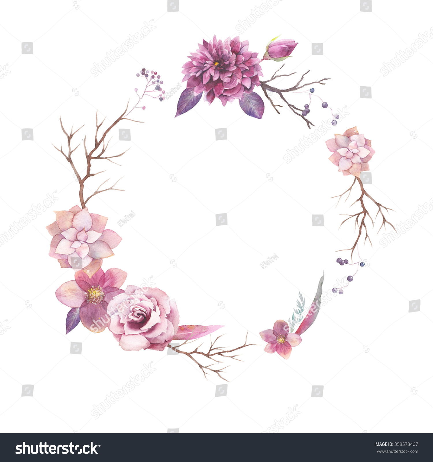 Rose Flower Border Happy Mothers Day Quotes Wallpaper Watercolor Floral Wreath Isolated On White