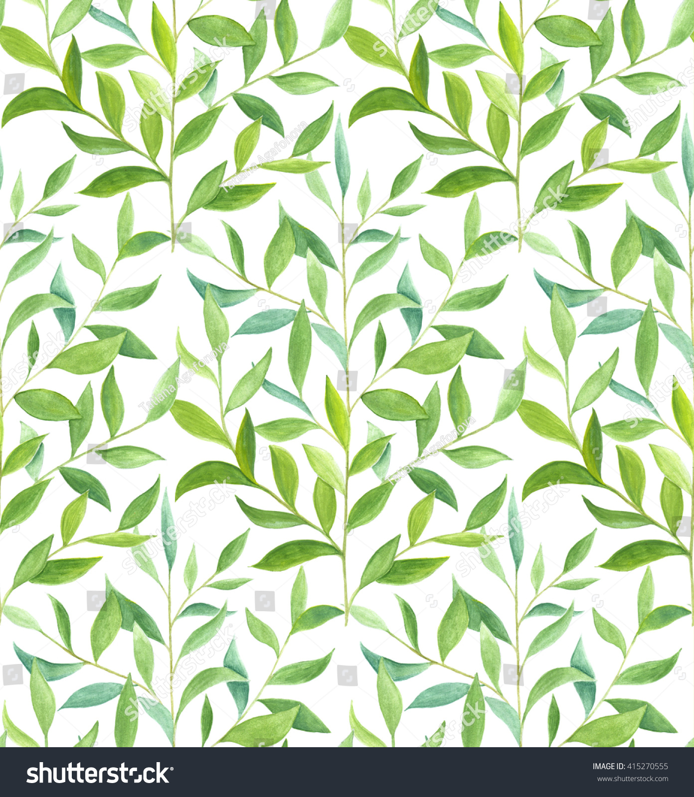 Herbal Wallpaper Watercolor Green Plant Herbal Seamless Pattern Stock Illustration