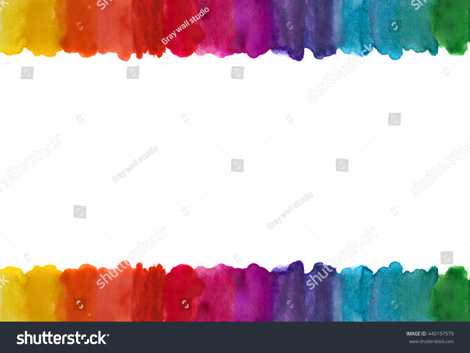 Colored Water Brush Watercolor Lines Frame Brush Draws Colored Stock Illustration