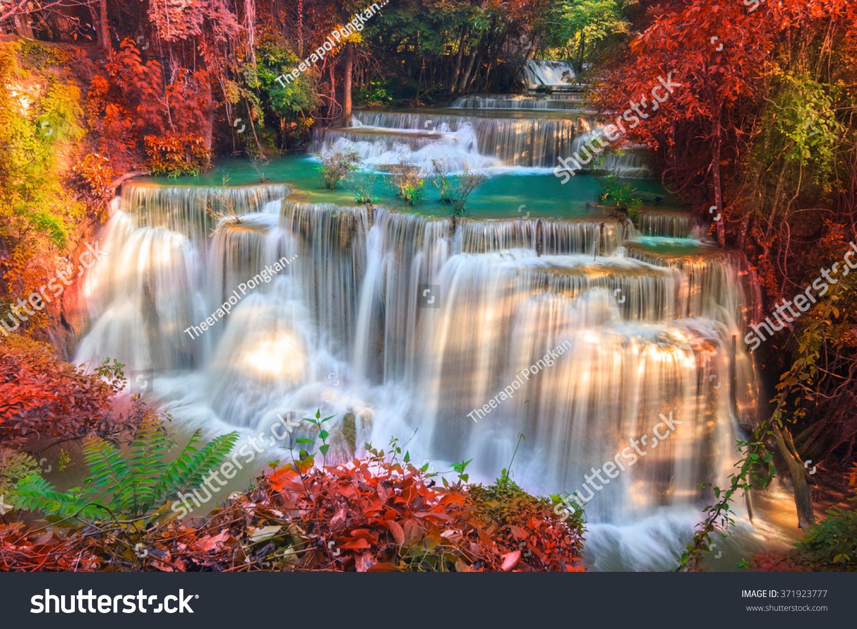 Free Fall Tree Wallpaper Waterfalls Deep Forest Huai Mae Khamin Stock Photo