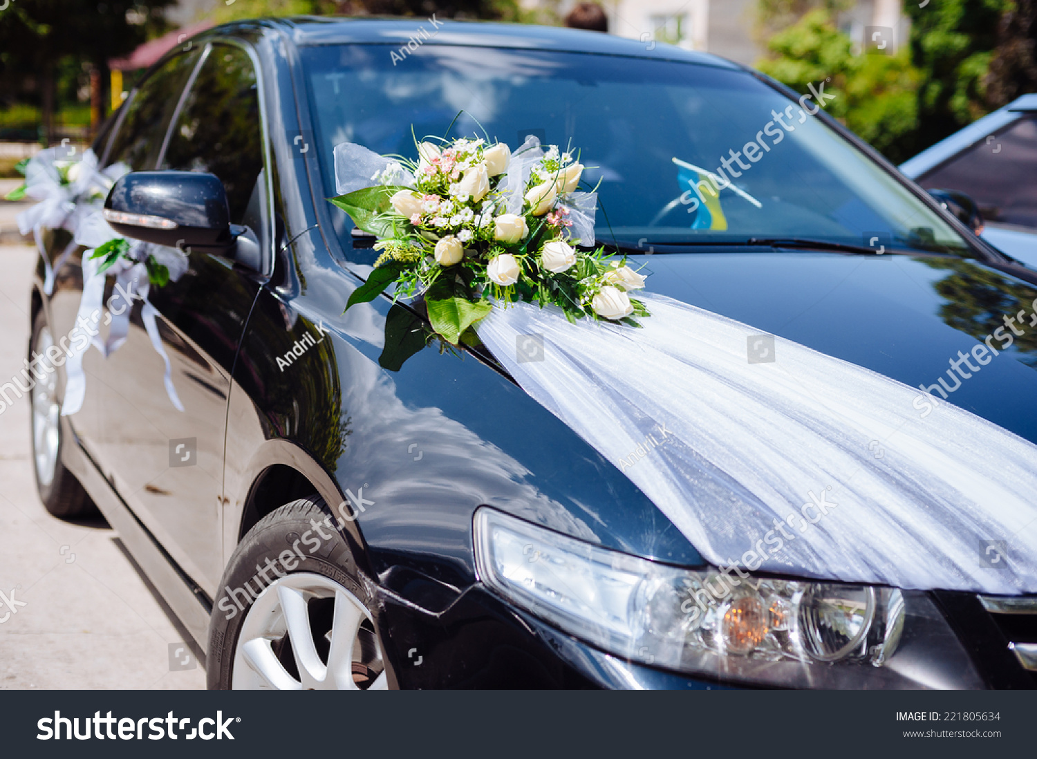 Car Decoration Weding Wedding Car Decor Flowers Bouquet Car Stock Photo Edit Now 221805634