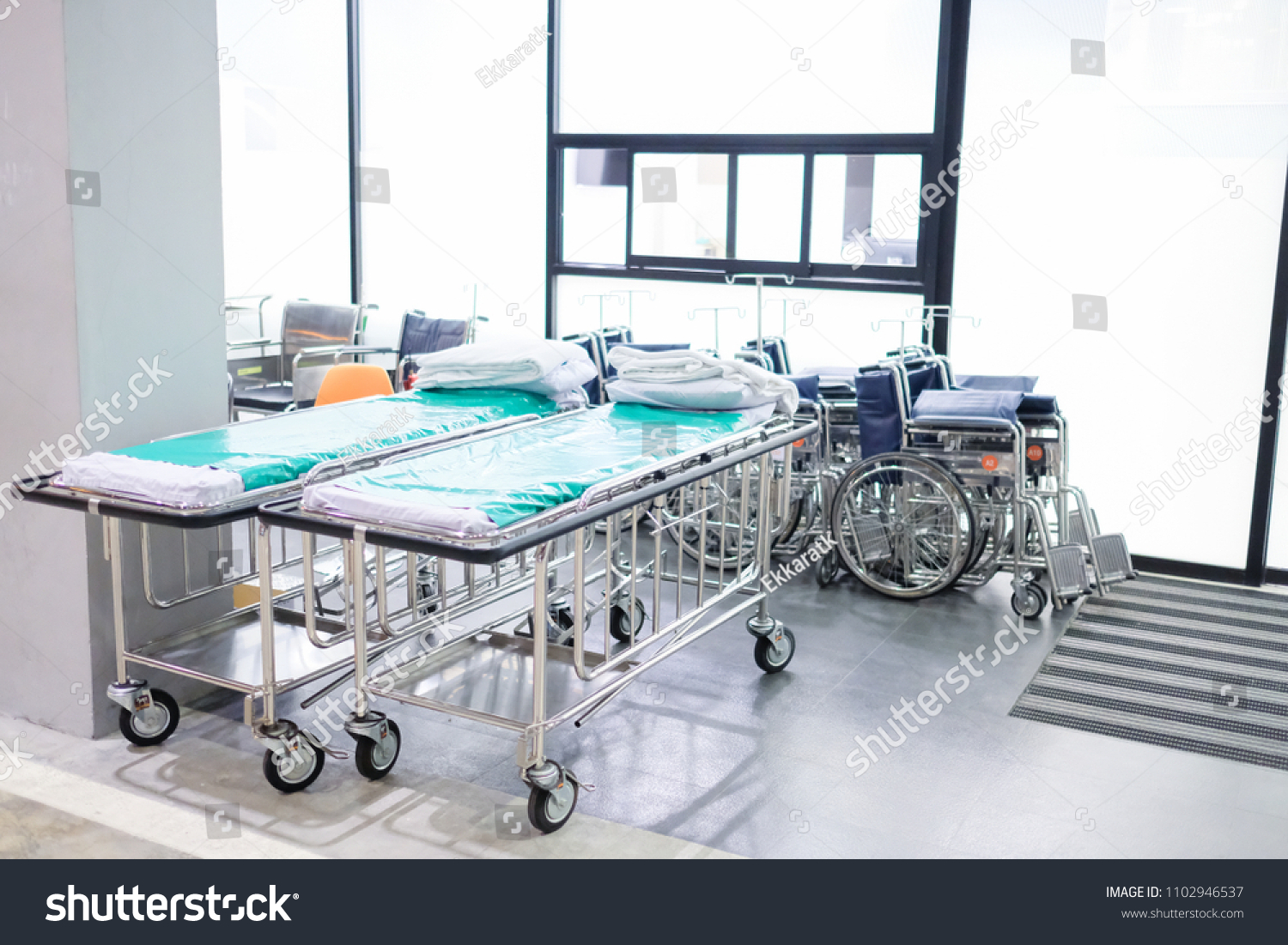 Bed Wheelchair Wheelchair Bed Hospital Stock Photo Edit Now 1102946537