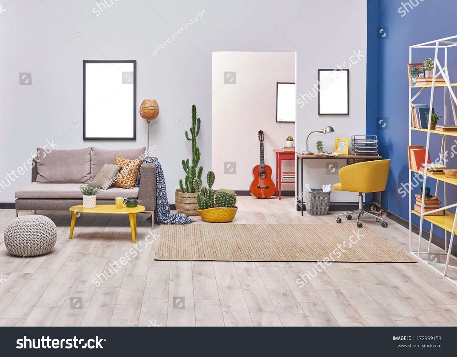 Grey White And Blue Living Room White Blue Wall Concept Living Room Stock Photo Edit Now