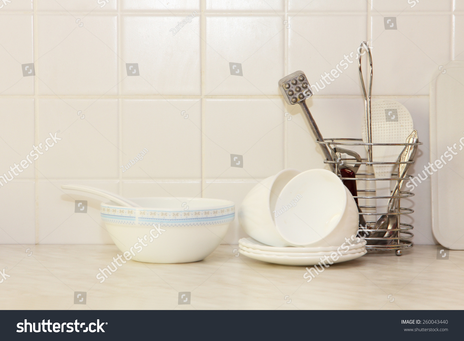 White Tile Kitchen Table White Kitchenware On Kitchen Table Ceramic Stock Photo