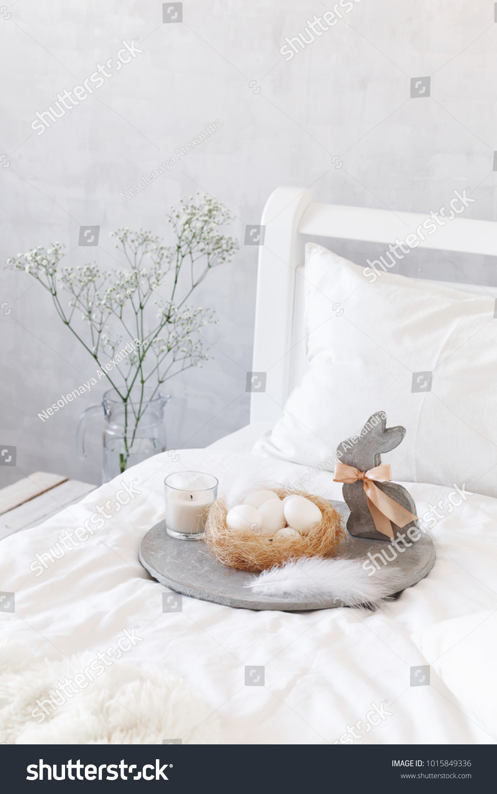 White Decoration Bedroom White Modern Bedroom Easter Decoration Bed Stock Photo Edit Now