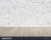 White Painted Brick Wall Texture Wooden Stock Photo ...