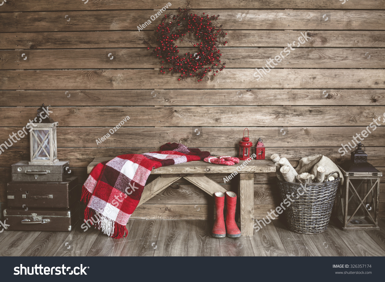 House Decoration Images Winter Home Decor Christmas Rustic Interior Stock Photo