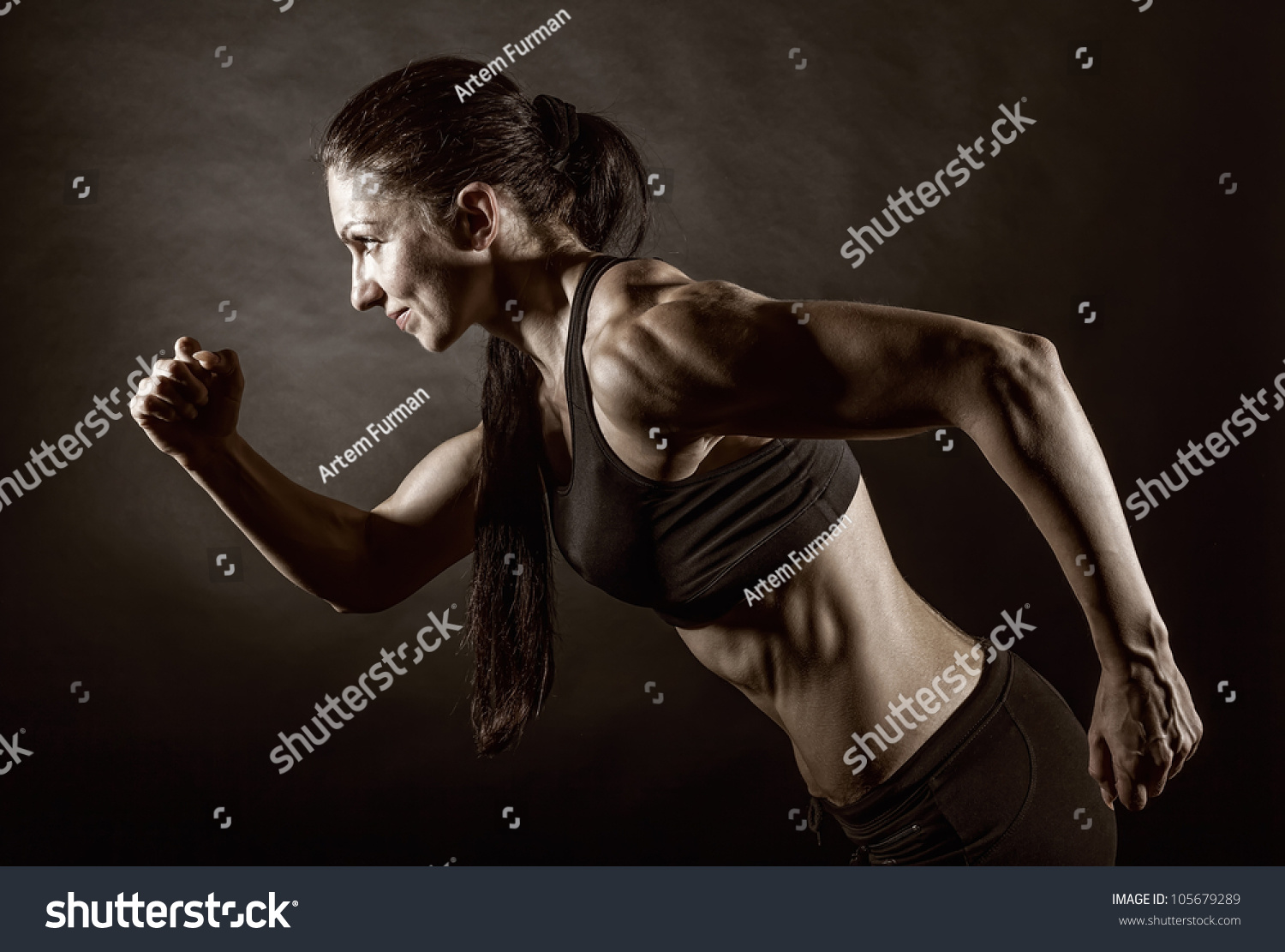 Running Jogging Music Download Woman Running On Dark Background Side Stock Photo