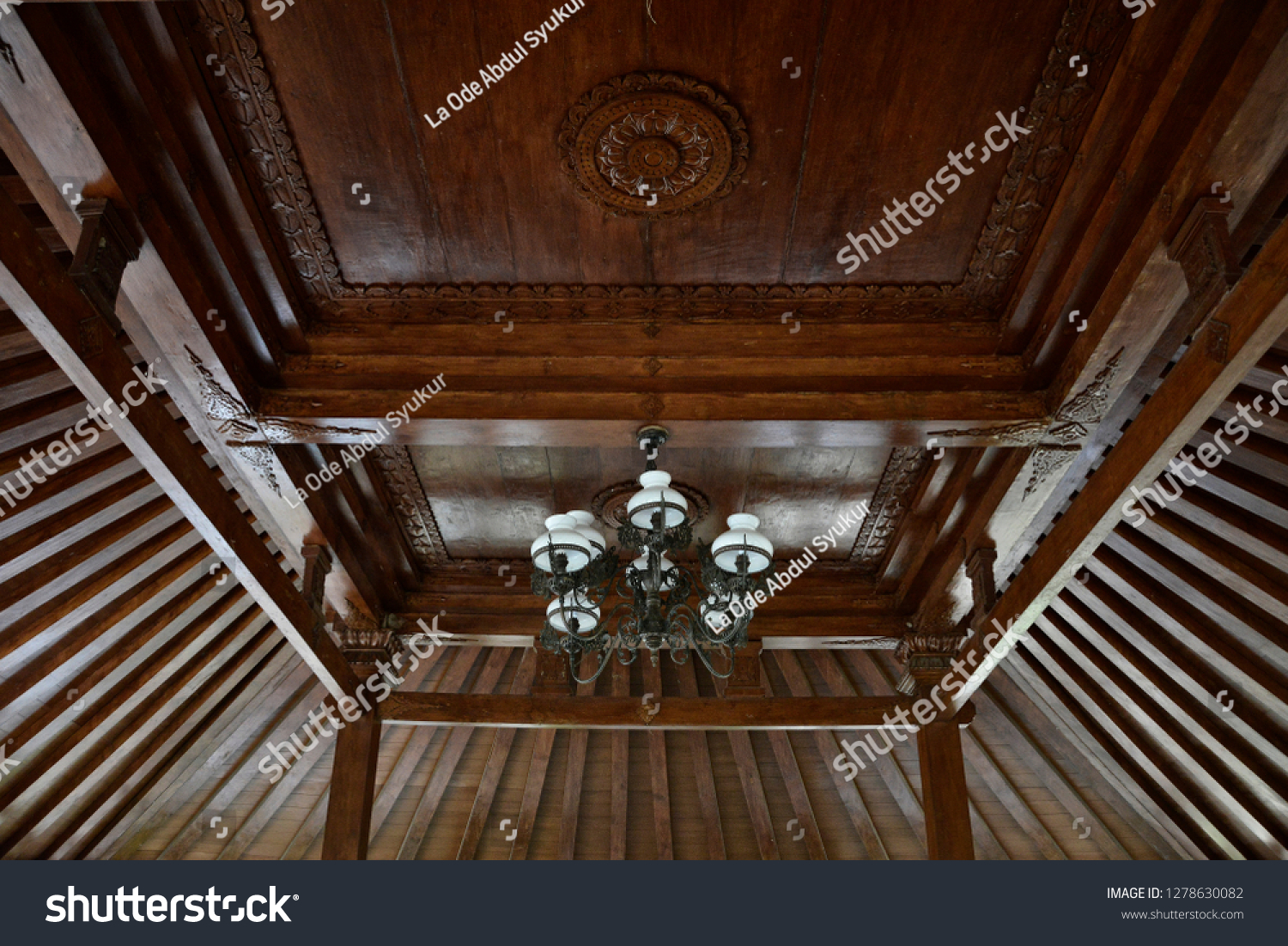 Interior Joglo Wood Ceiling Javanese Traditional House Joglo Stock Photo Edit