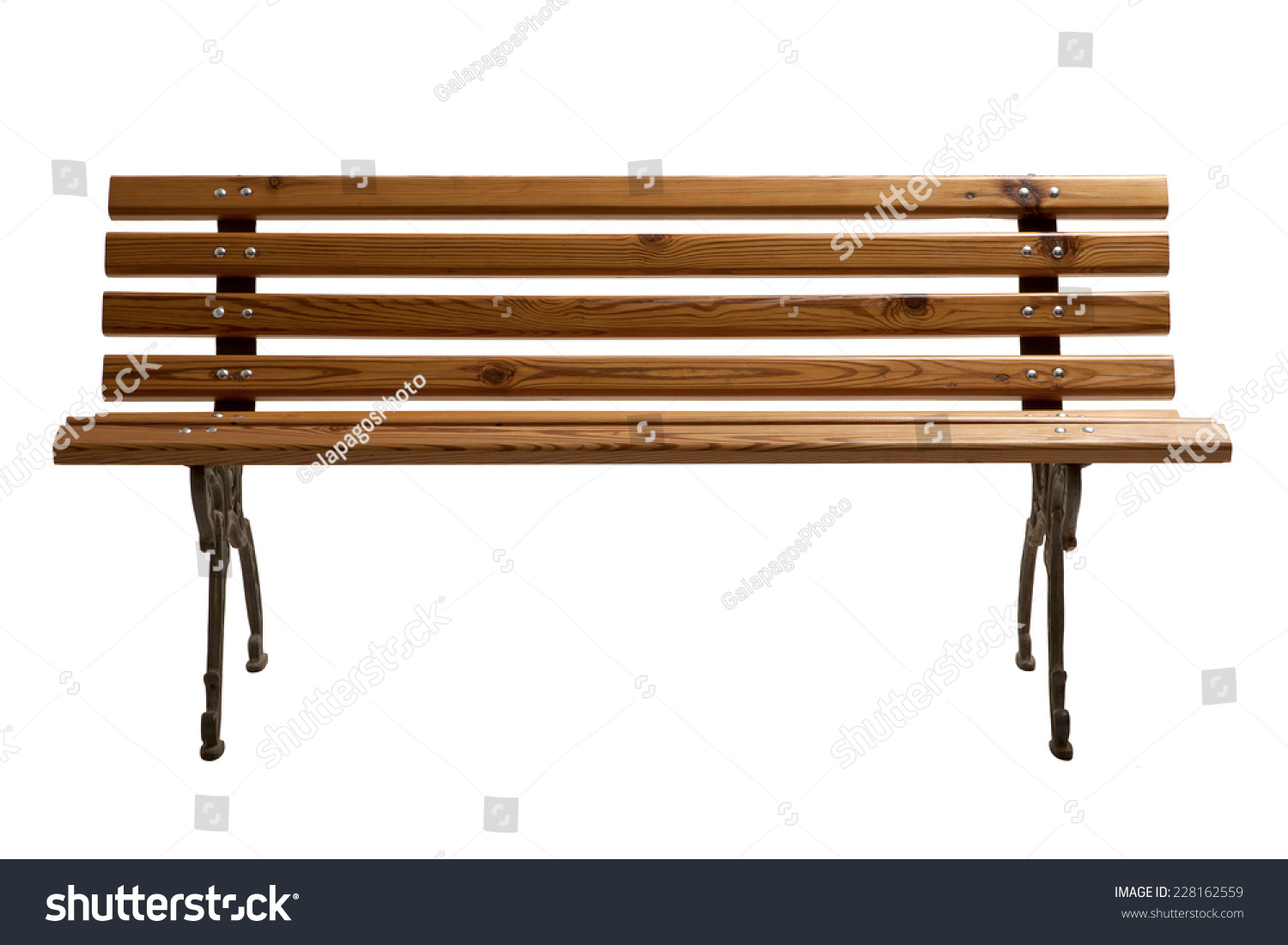 Wooden Park Benches Front Wooden Park Bench Isolated On White Background Stock Photo