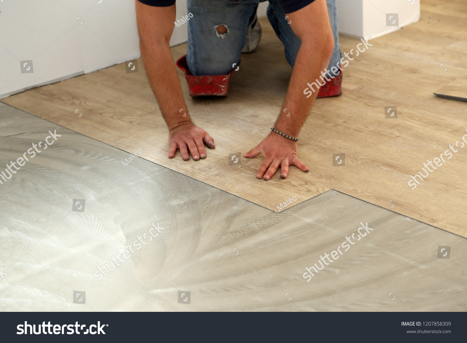 Installing Vinyl Tile Work On Laying Flooring Worker Installing Stock Photo Edit Now