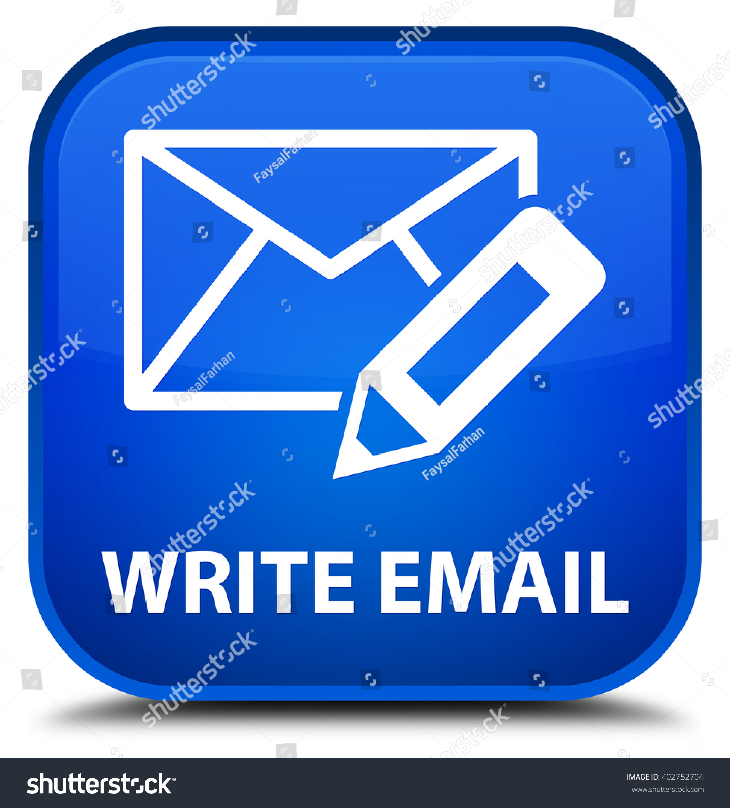 Email Icon Isolated On Special Yellow Square Button Abstract Write Email Blue Square Button Stock Illustration