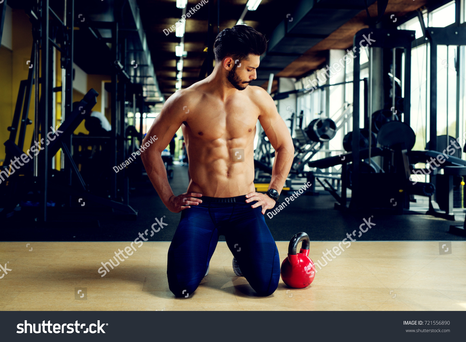 Kettlebell Bodybuilding Young Active Bodybuilder Exercising Kettlebell Gym Stock Photo