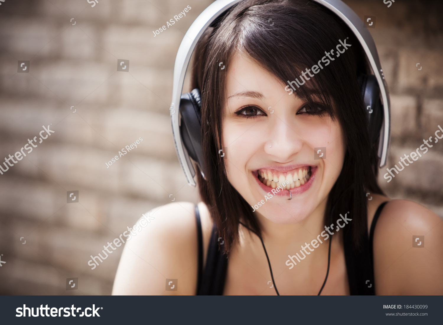 Beautiful Headphones Young Beautiful Girl Portrait Wearing Headphones Stock