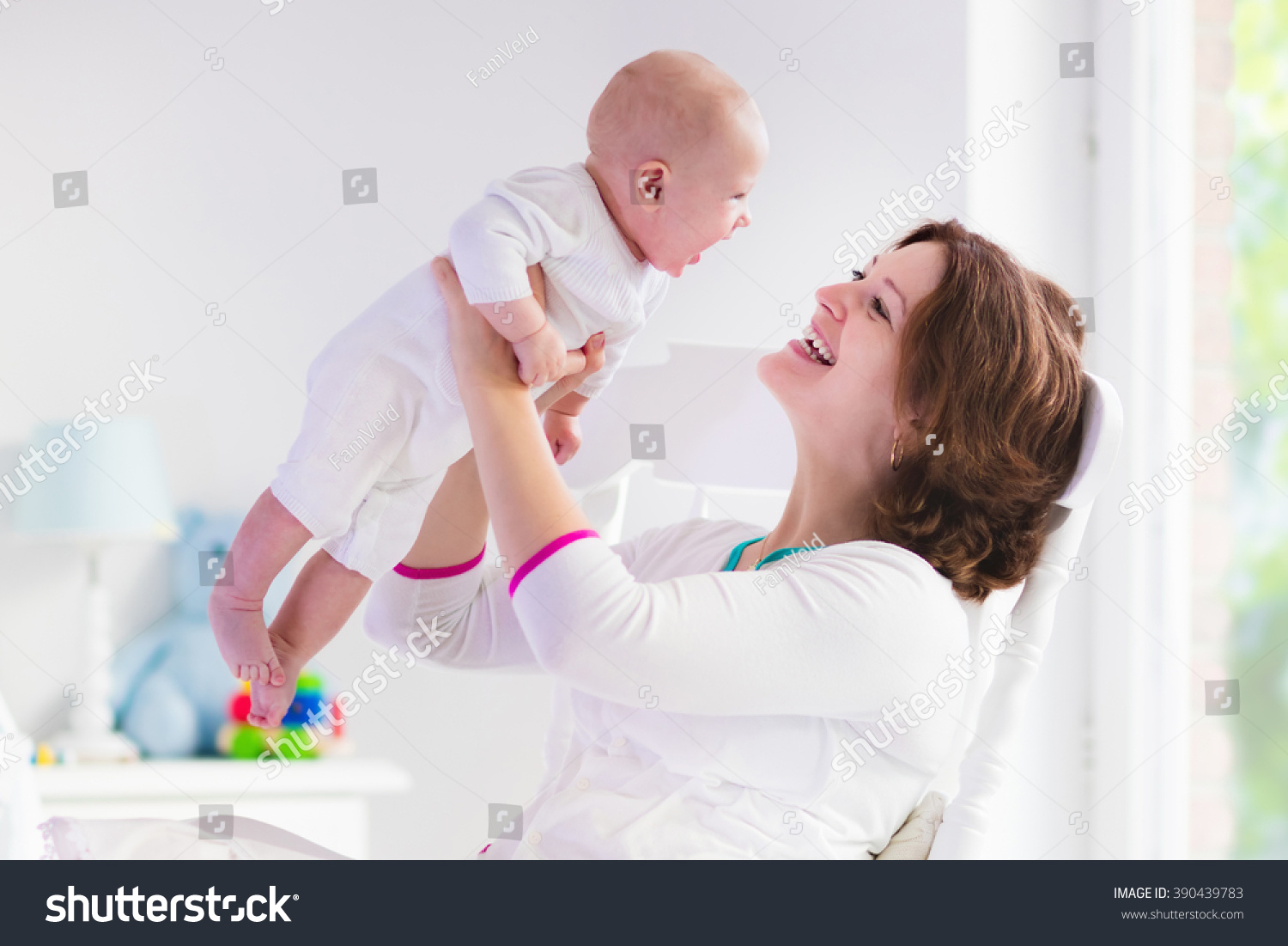 Blue Nursing Chair Young Mother Holding Her Newborn Child Stock Photo