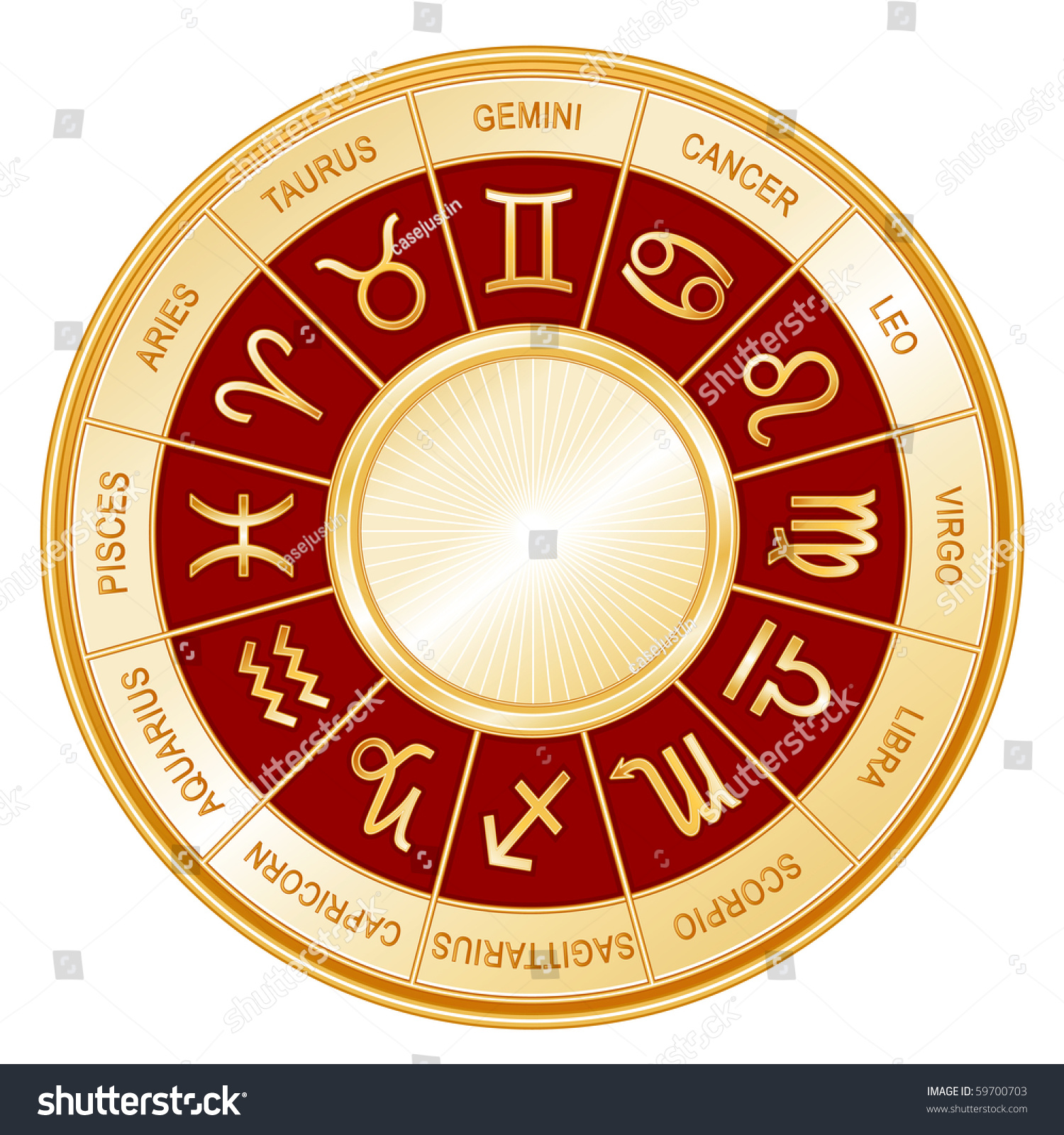 Red Libra Zodiac Wheel Twelve Astrology Signs Gold Wheel Red