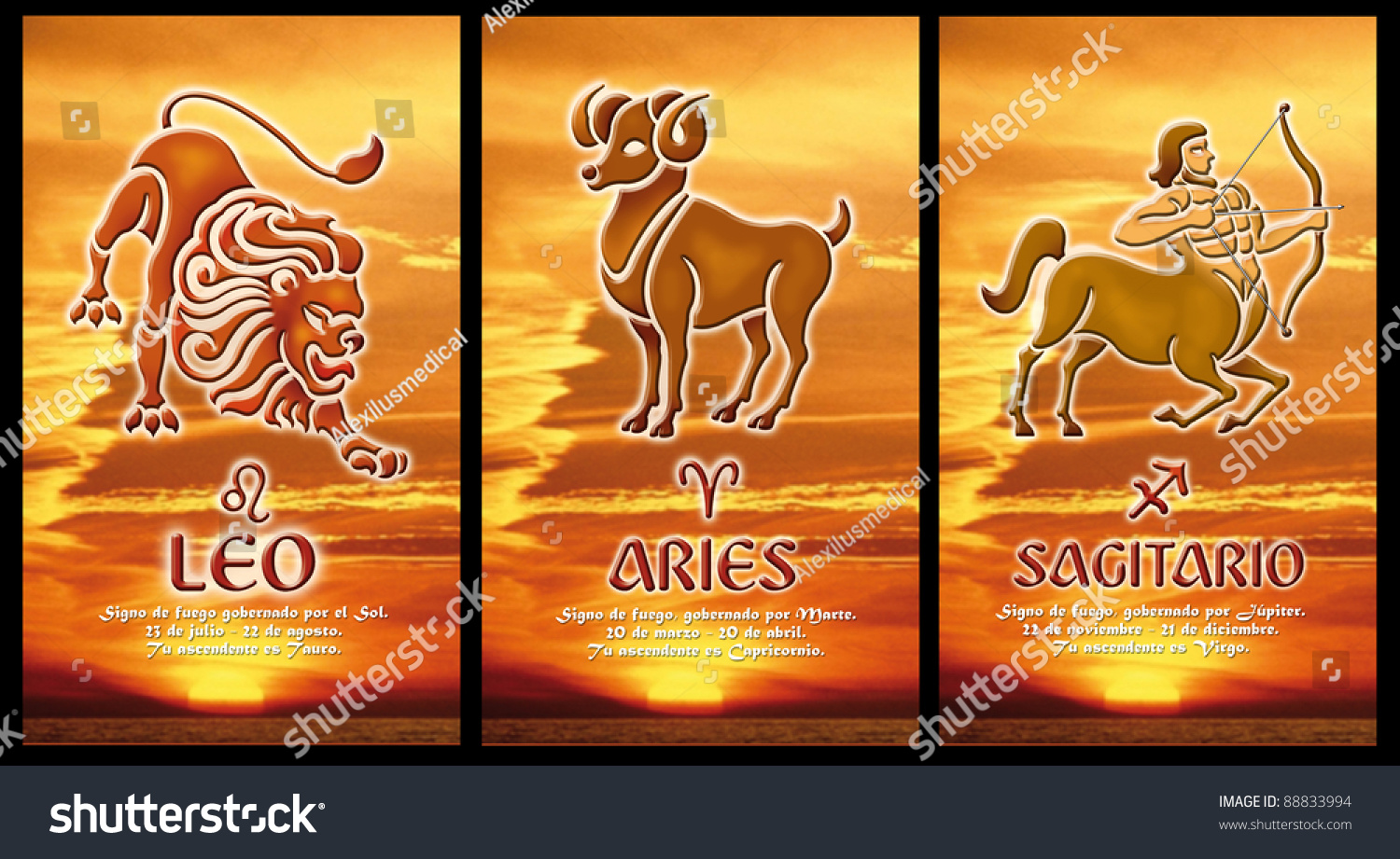 Zodiacal Signs Leo Aries Sagittarius Spanish Stock Photo