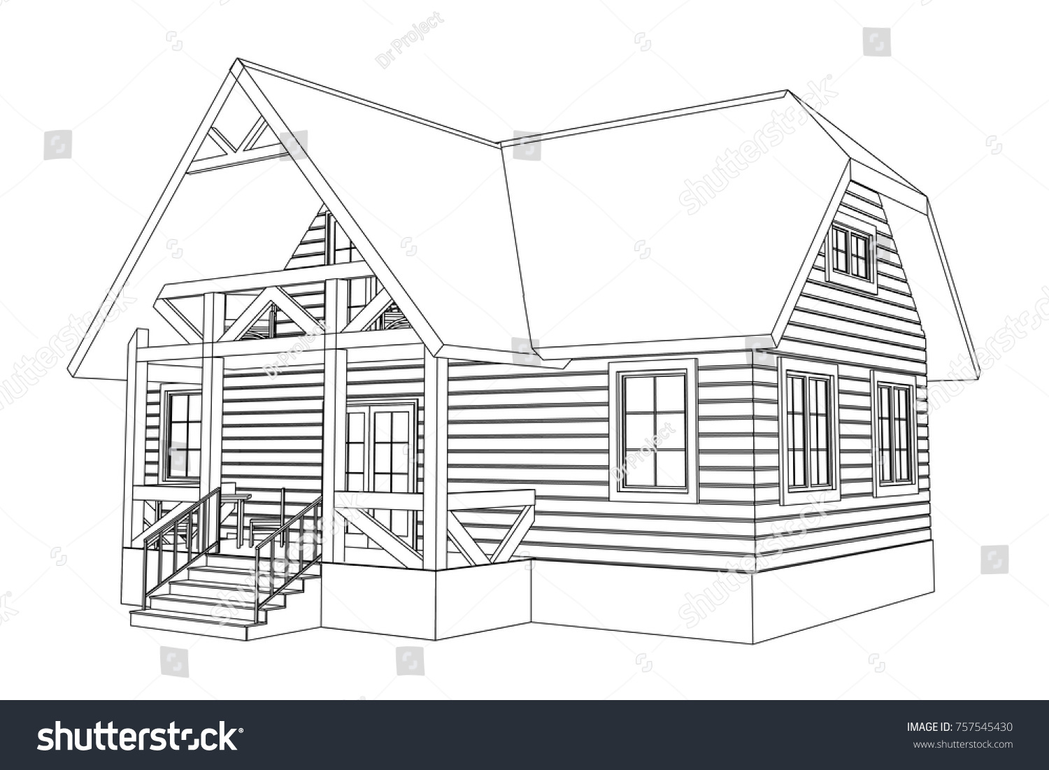 3d House Drawing Drawing Sketch House Stock Illustration 152890295